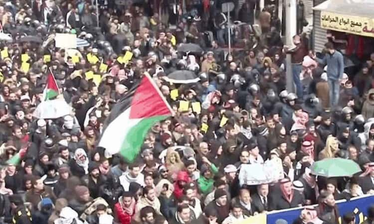 """A protest rally against the so-called """"deal of the century"""" announced by US President Donald Trump last month took place at the American embassy in the Jordanian capital Amman."""