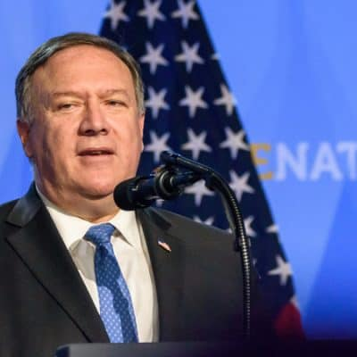 Press conference of Mike Pompeo