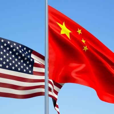 Flag of United States and China