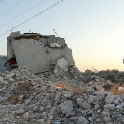 A destroyed building because of russian airstrike on civil family house.