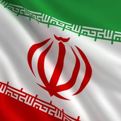 A flag of Iran in the wind